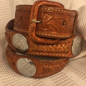 Leather/metal embellishments handcrafted belt